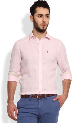 Oxford Club Men's Solid Casual Linen Pink Shirt