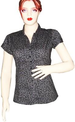 Dream Fashion Women's Printed Casual Black Shirt