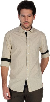 Denimlab Men's Checkered Casual Beige Shirt