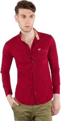NineClub Men's Solid Casual Maroon Shirt