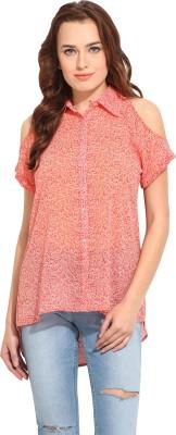 Blue Sequin Women's Printed Casual Orange Shirt