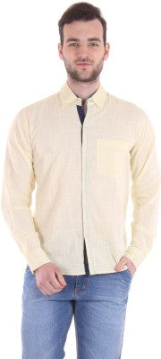Routeen Men's Solid Casual Blue, Yellow Shirt