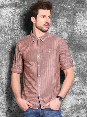 WROGN Men's Striped Casual Maroon Shirt