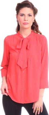 Street 9 Women's Solid Casual Pink Shirt