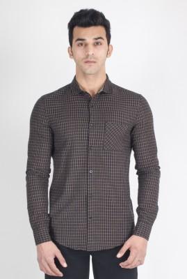 Suchos Men's Checkered Casual Black, Brown Shirt