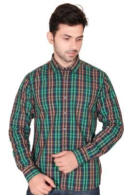 Fabrobe Men's Checkered Casual Green Shirt