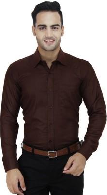 Vkg Men's Solid Formal Brown Shirt