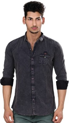 Fisheye Men's Solid Casual Black Shirt