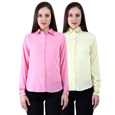 NumBrave Women's Solid Casual Multicolor Shirt