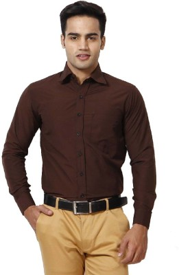 Rv Collection Men's Solid Casual Brown Shirt