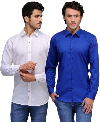 Feed Up Men's Solid Casual White, Blue Shirt