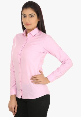 Fashion Cult Women's Solid Casual Pink Shirt