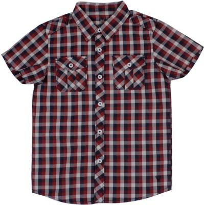 Allen Solly Boy's Checkered Casual Red Shirt