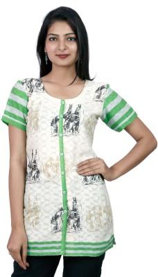 Pamposh Creations Women's Graphic Print Casual White Shirt