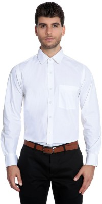 Estycal Men's Solid Formal White Shirt