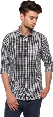 British Club Men's Checkered Casual Black, White Shirt