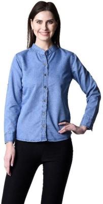 Beautic Women's Solid Party Denim Light Blue Shirt