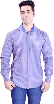 Krazzy Collection Men's Striped Casual Blue, Pink Shirt