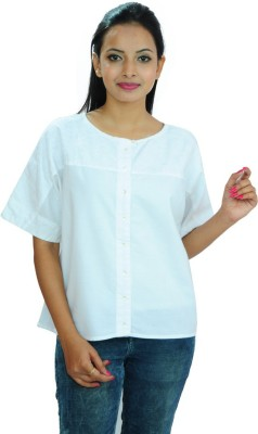Goodwill Impex Women's Self Design Casual White Shirt
