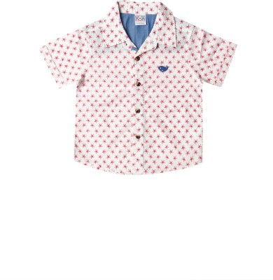 Wow Mom Baby Boy's Printed Casual Pink Shirt