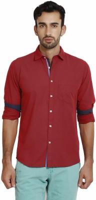 I-Voc Men,s Solid Casual Red Shirt