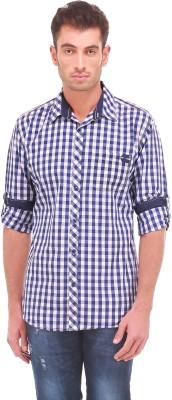 Sleek Line Men's Checkered Casual Dark Blue Shirt