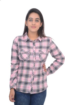 #Lets Selfie Women's Checkered Casual Pink Shirt