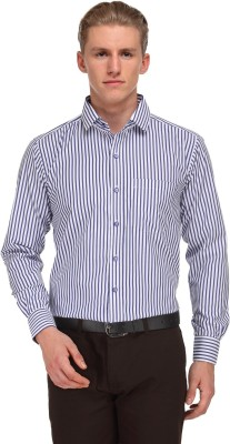 V2k Fashion Men's Striped Formal White, Blue Shirt