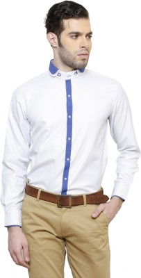 RICHARD COLE Men's Solid Wedding, Casual, Party, Formal, Festive White Shirt
