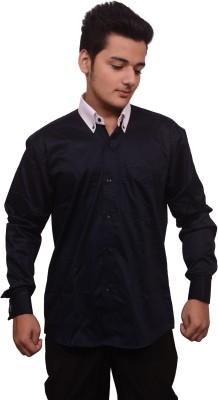 Signore Men's Solid Wedding Black Shirt