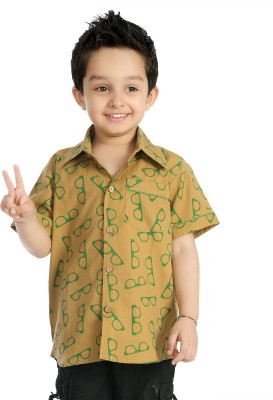 Little pocket store Boy's Printed Casual Brown Shirt