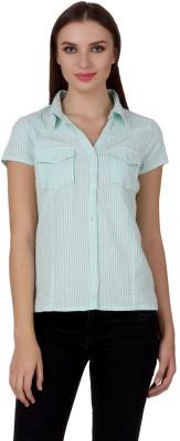 One Femme Women's Checkered Casual, Lounge Wear Green Shirt