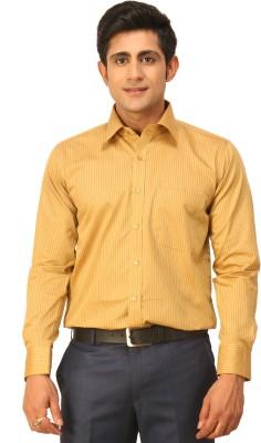 Seven Days Men's Striped Formal Gold Shirt