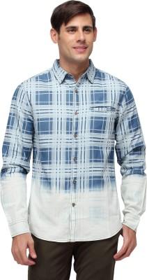 Blue Saint Men's Checkered Casual Blue, White Shirt