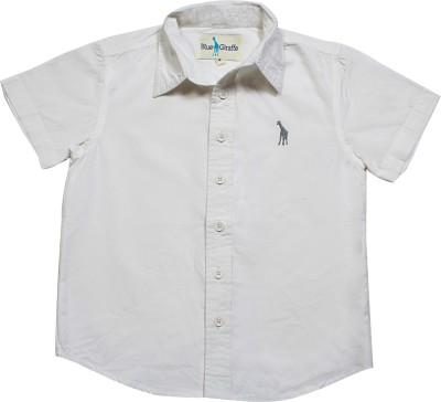 Blue Giraffe Boy's Solid Casual White Shirt