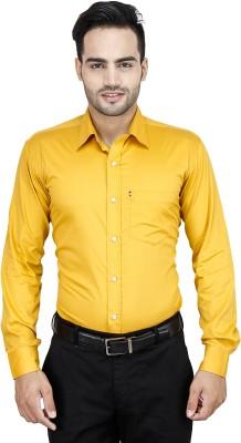 LEAF Men's Solid Formal Gold Shirt