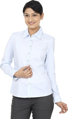 Wills Lifestyle Women's Solid Formal Blue Shirt
