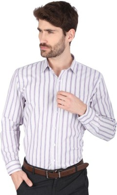 Big Tree Men,s Striped Formal Purple Shirt