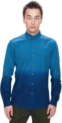 Srota Men's Checkered Casual Blue Shirt