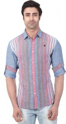 Vintage Soul Men's Self Design Casual Linen Blue Shirt