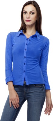 Purple Feather Women's Solid Casual Blue Shirt