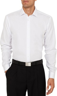 Louis Martin Men's Solid Casual White Shirt