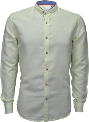 IVYN Men's Solid Casual Linen Yellow Shirt