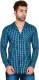 Lime Time Men's Checkered Casual Blue Sh...