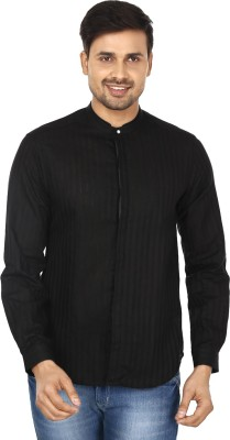 Wills Lifestyle Men's Striped Casual Black Shirt