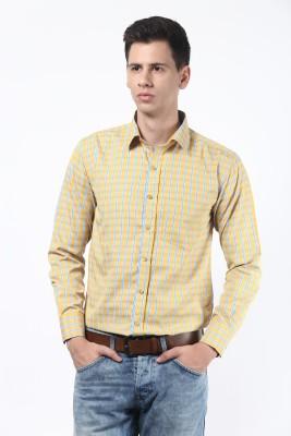 Remo Men's Checkered Formal Yellow Shirt
