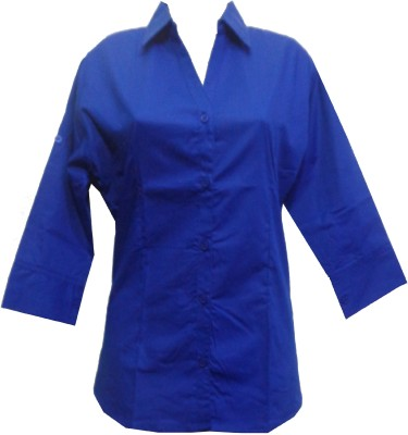fashion point Women's Solid Formal Blue Shirt