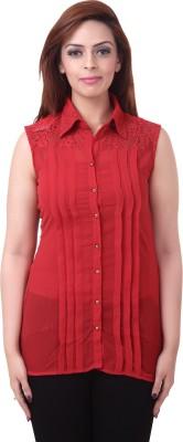 Goddess Women Women's Solid, Self Design Casual Red Shirt