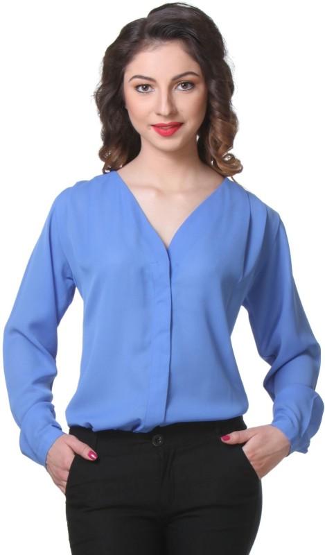 Purys Women's Solid Formal Blue Shirt