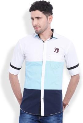 Vintage Men's Solid Casual Blue Shirt